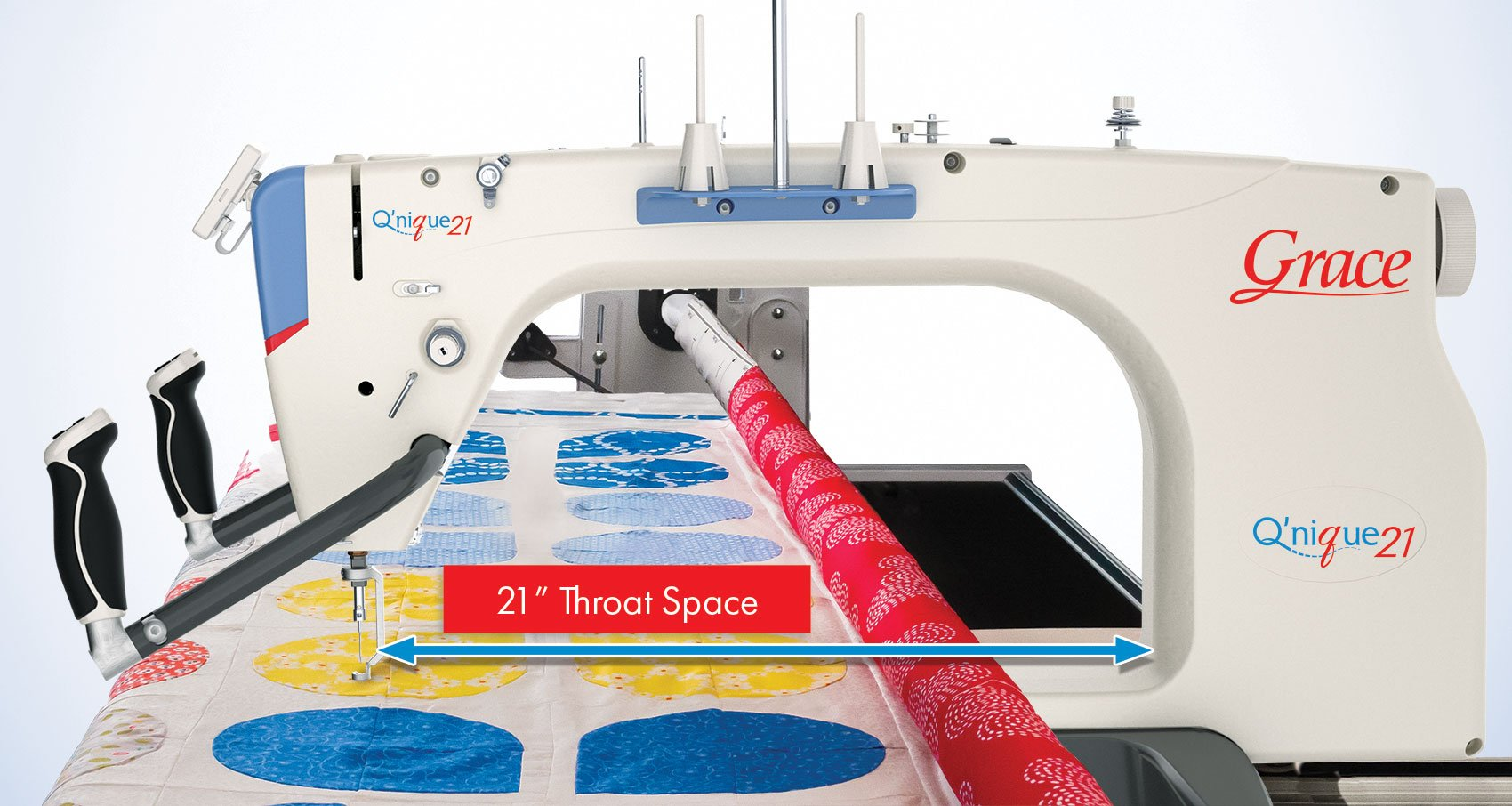 Q'nique 21 inch throat space longarm quilting machine