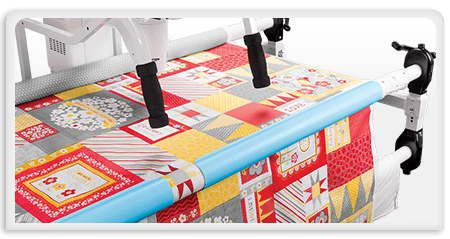 Quilt Clips with fabric on rail